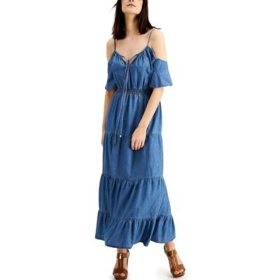 マイケルコース ワンピース トップス レディース Tiered Cold-Shoulder Maxi Dress Indigo
