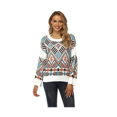 QIANGETI Women's Pullover Sweater, Round Neck Long-Sleeved Sweater Pullover