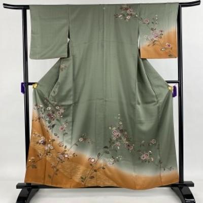 訪問着 秀品 一つ紋 草花 斜縞 金彩 染め分け 灰緑 袷 身丈159.5cm 裄丈62.5cm S 正絹 中古