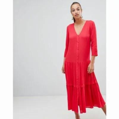 エイソス ワンピース casual crinkle button through maxi dress Red