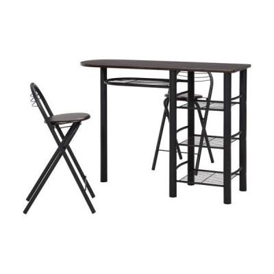 カウンターテーブル ハイテーブル カウンター テーブル チェア 3点セット カウンターセット ブラック 幅120 奥行40 収納 キッチンラック 対面テーブル 19363