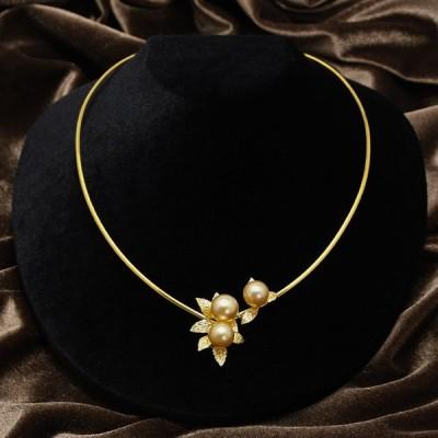 ゴールド 白蝶真珠 10mm 9mm オメガネックレス シルバー925 デコルテに華やかに咲く 南洋真珠 パール 形状記憶
