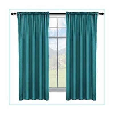 新品ALLJOY 2 Panels Energy Efficiency Soft Thick Easy Install Curtains, 100% Blackout Thermal Insulated Blocking Light Privacy Winter Rod