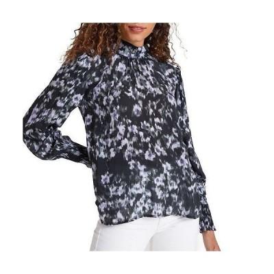 bella dahl レディース 女性用 ファッション ブラウス Mock Neck Smocked Cuff Top - Black Floral