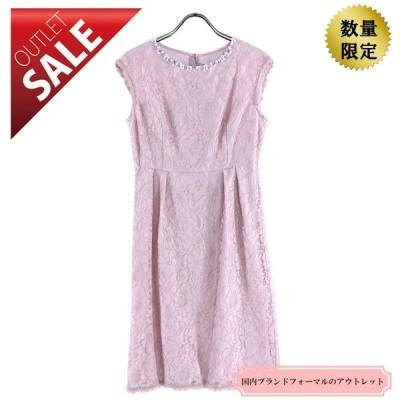 64%OFF ひざ丈ドレス 結婚式 二次会 |オーバースカート付レースドレス9号(ピンク)