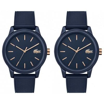 【ペア収納ケースつき】LACOSTE ラコステ 腕時計 ペアウォッチ 同じサイズセット ユニセックス 男女兼用 L.12.12 ローズゴールド×ネイビー ラバー 軽い 20110112011011ペア