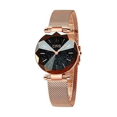 CIVO レディース腕時計 ローズゴールド防水腕時計 ステンレススチールメッシュ レディース アナログクォーツ腕
