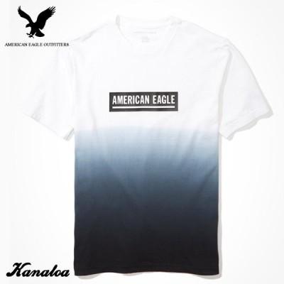 アメリカンイーグル Tシャツ 半袖 メンズ グラデーション ロゴ クルーネック ブラック 大きいサイズ