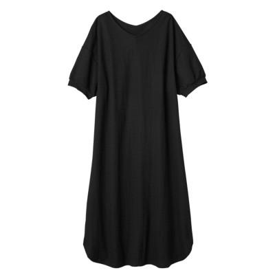 アロッタ Alotta 【接触冷感】Vネックパフ袖ゆったりワンピース (ブラック)