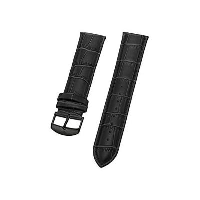 【新品・送料無料】Stuhrling Original Mens 22mmブラックレザー時計ストラップwithブラックバックルSt。165b2.335569