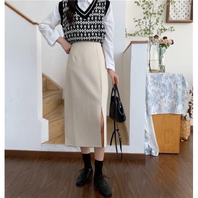 買いたくない理由をください。秋 2020年新型 韓国版 ハイウエスト スリム パーフェクト スカート ミディアムロング ブラック Aワード スカート 女性