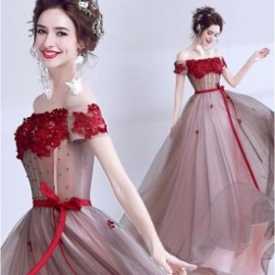 ウェディングドレス パーティドレス 着痩せ 花柄 二次会 結婚式 司会者 披露宴 花嫁 オフショルター