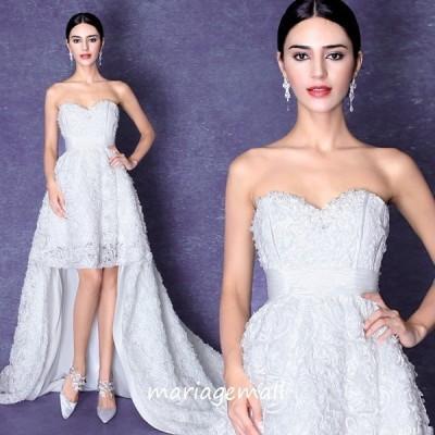ウエディングドレス トレーンドレス 前ミニ ウェディングドレス 二次会 ロングドレス 結婚式 花嫁 パーティードレス 披露宴 ブライダル wedding dress