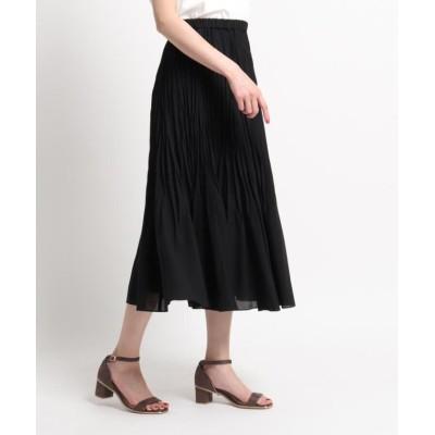 【スーナウーナ】 ランダムプリーツロングスカート レディース ブラック 36(S) SunaUna