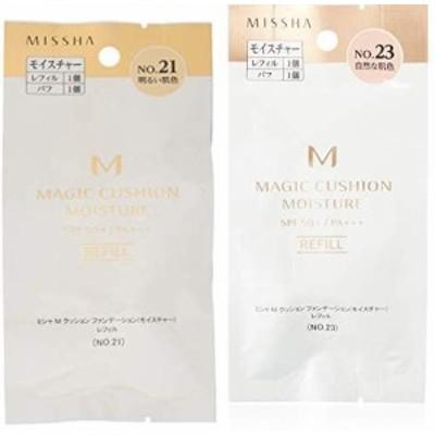【セット買い】ミシャ M クッション ファンデーション (モイスチャー) レフィル No.21 明るい肌色 (15g) & M クッション ファンデーショ