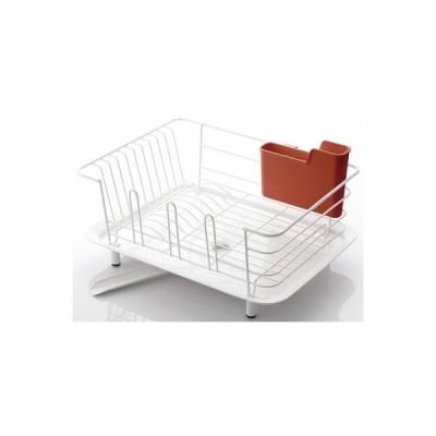 ふるさと納税 岐阜県 水切りラック シンク上 コンパクト 水切りかご Mサイズ(白&赤)