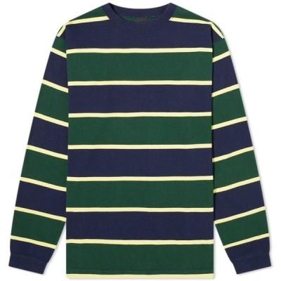 マナスタッシュ Manastash メンズ 長袖Tシャツ トップス Long Sleeve Rugby Stripe Tee Navy/Green