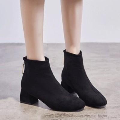 冬靴 レディース ブーツ ブーティ レディース 靴 シューズ ブーツ Vライン スウェード シンプル ヒール ショートブーツ 美脚 大人可愛い