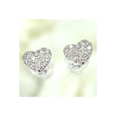 【ダイヤモンドピアスパヴェハート】K18WG・ダイヤモンド0.2ct ハートパヴェピアス