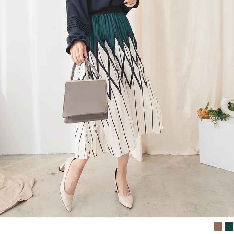 幾何印刷格紋腰鬆緊壓褶長裙