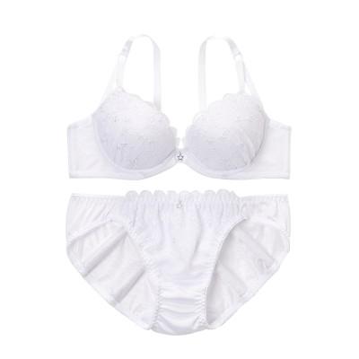星柄刺しゅうレースブラジャー・ショーツセット(E95/4L) (ブラジャー&ショーツセット)Bras & Panties