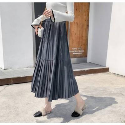 プリーツ スカート ロング フレアー Aライン ウエストゴム フェミニン 大人カジュアル レディース ファッション