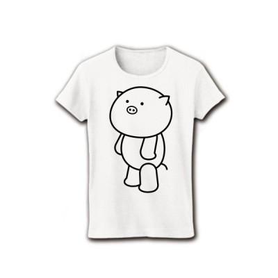 ぶたさん リブクルーネックTシャツ(ホワイト)