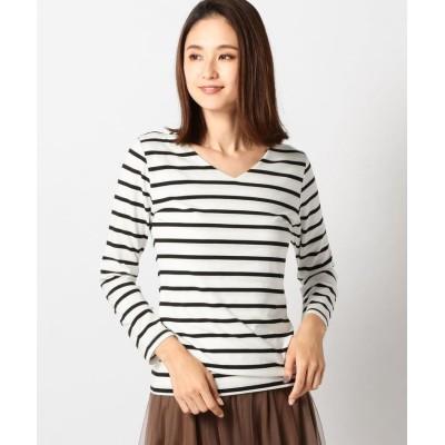 【ミューズ リファインド クローズ】 ヒートウォームVロングTシャツ レディース シロクロ M MEW'S REFINED CLOTHES
