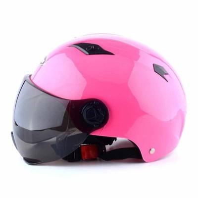 ヘルメット オートバイ 半帽 男女兼用 バッテリカー 調整可能  通気穴 原付 スムーズ 耐久性 スモークレンズ