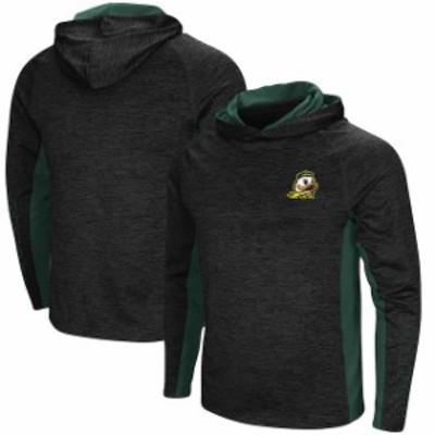 Colosseum コロセウム スポーツ用品  Colosseum Oregon Ducks Heathered Black Upstart Long Sleeve Hooded T-Shirt