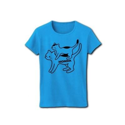 猫バイクのホンダさん リブクルーネックTシャツ(ターコイズ)