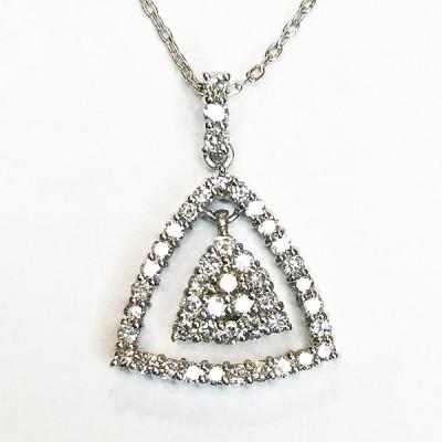 K18WG ダイヤ 0.50ct   ネックレス ペンダント ホワイトゴールド qoj.1871