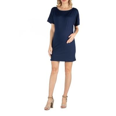 24セブンコンフォート ワンピース トップス レディース Loose Fit Dolman Sleeve Maternity Dress with Scoop Neckline Navy