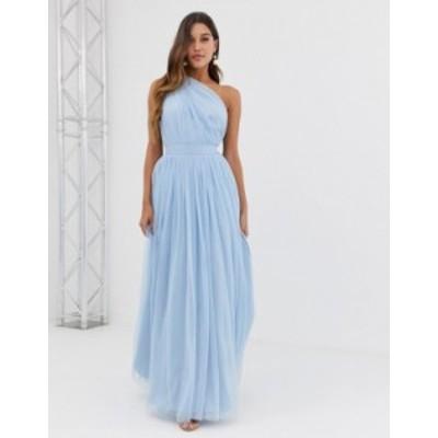 エイソス レディース ワンピース トップス ASOS DESIGN Tulle One Shoulder Maxi Dress Blue