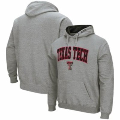 Colosseum コロセウム スポーツ用品  Colosseum Texas Tech Red Raiders Heather Gray Arch & Logo Tackle Twill Pullover Hoodie