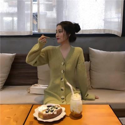 [55555SHOP]春秋冬 女性服 Vネック 短いスタイル 厚手 新作 スリムフィット ニット ドレス 気質   百掛け スリム ニットワンビース ドレス