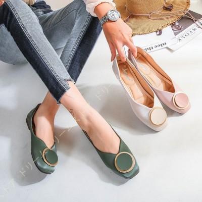 パンプス ローヒール 夏 靴 レディース シューズ フラット ぺたんこ バックル シンプル 滑り止め 歩きやすい カジュアル 美脚 女性用 日常 ショッピング