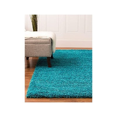 Super Area Rugs Solid Cozy Shag Rug, Turquoise, 5' x 8'
