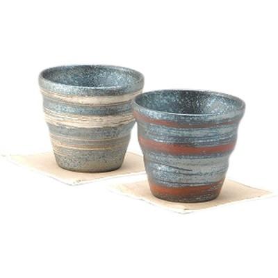 ヤマ庄陶器 信楽焼 銀彩ライン オールドペアカップ(コースター付) GB3-7-05