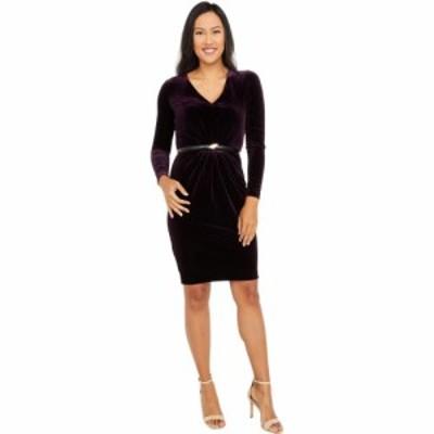 カルバンクライン Calvin Klein レディース ワンピース ワンピース・ドレス Long Sleeve Velvet Dress with Belt Aubergine