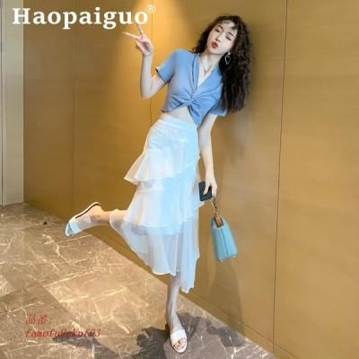 2019 夏 韓国 カジュアル 2 点 セット 半袖 ブルー ブラウス と フリル ミディ白 スカート 女性 2 個セットストリート スーツ グループ上 レディース 衣服