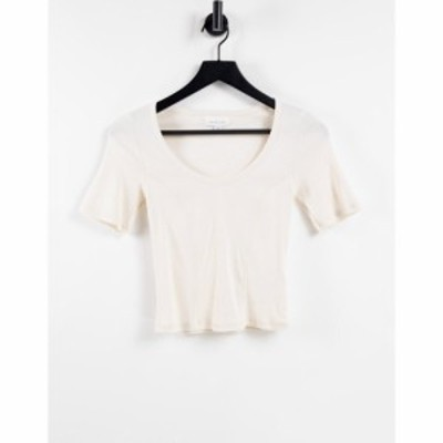 トップショップ Topshop レディース Tシャツ トップス short sleeve seamed scoop t-shirt in ecru エクリュ