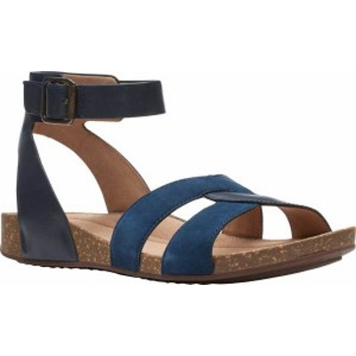 クラークス レディース サンダル シューズ Women's Clarks Un Perri Loop Ankle Strap Sandal Navy Combination Full Grain Leather