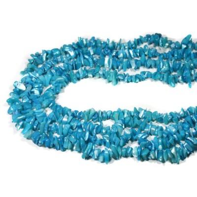 天然石 ビーズ アクセサリー さざれビーズ マザーオブパール (ブルー) (大粒) 約80〜90cm パワーストーン