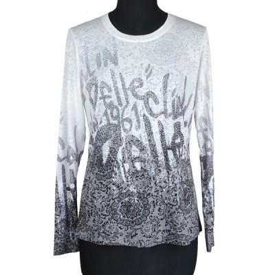 Tシャツ カットソー キラキラ ラインストーン カジュアル 婦人服 ミセス インポートテイスト オパール クランデール 40代 50代 60代 20 0269