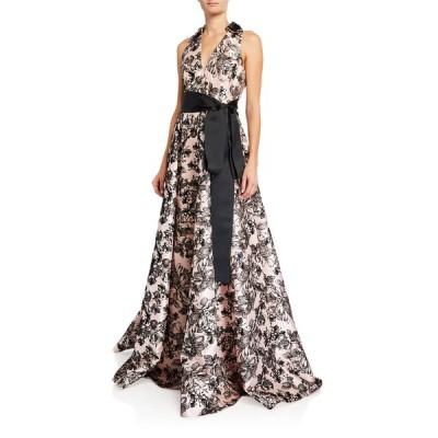 バッドグレイミッシカ レディース ワンピース トップス Flocked V-Neck Shirtdress A-Line Gown