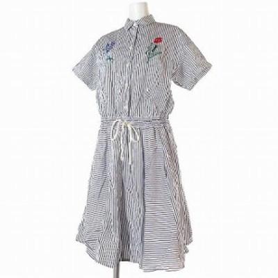 【中古】ハウピア haupia ワンピース ストライプ 刺繍 半袖 切って貼って飾る夏のシャツ地 白 ブルー 38 レディース