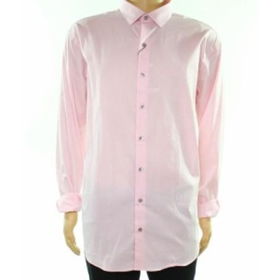 Alfani  ファッション ドレス Alfani NEW Pink Mens Size 17 1/2 Slim Fit Stretch Textured Dress Shirt