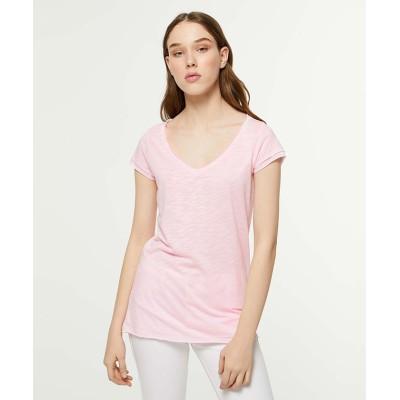 (SISLEY/シスレー レディス)スラブVネックフレンチ半袖Tシャツ・カットソー/レディース ライトピンク