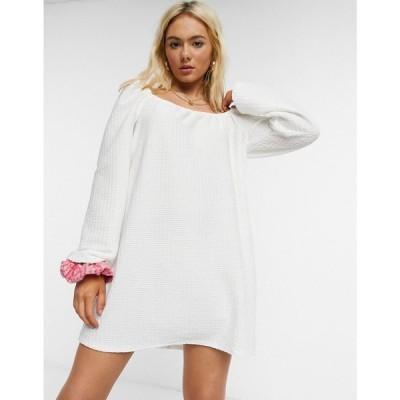 エイソス ASOS DESIGN レディース ワンピース ミニ丈 ワンピース・ドレス textured mini dress with puff sleeve in ivory アイボリー